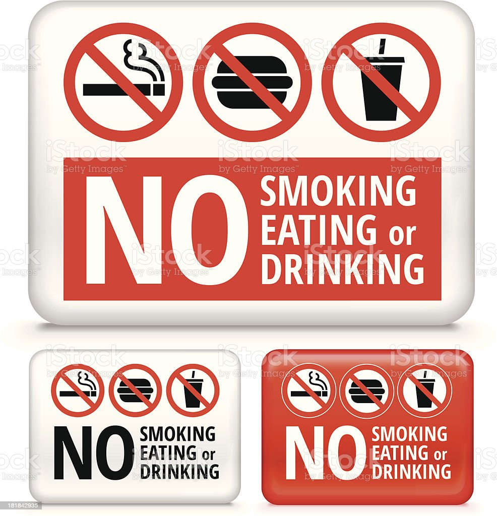 No Eating, Smoking, or Drinking Sign on Buttons and Banners royalty-free stock vector art