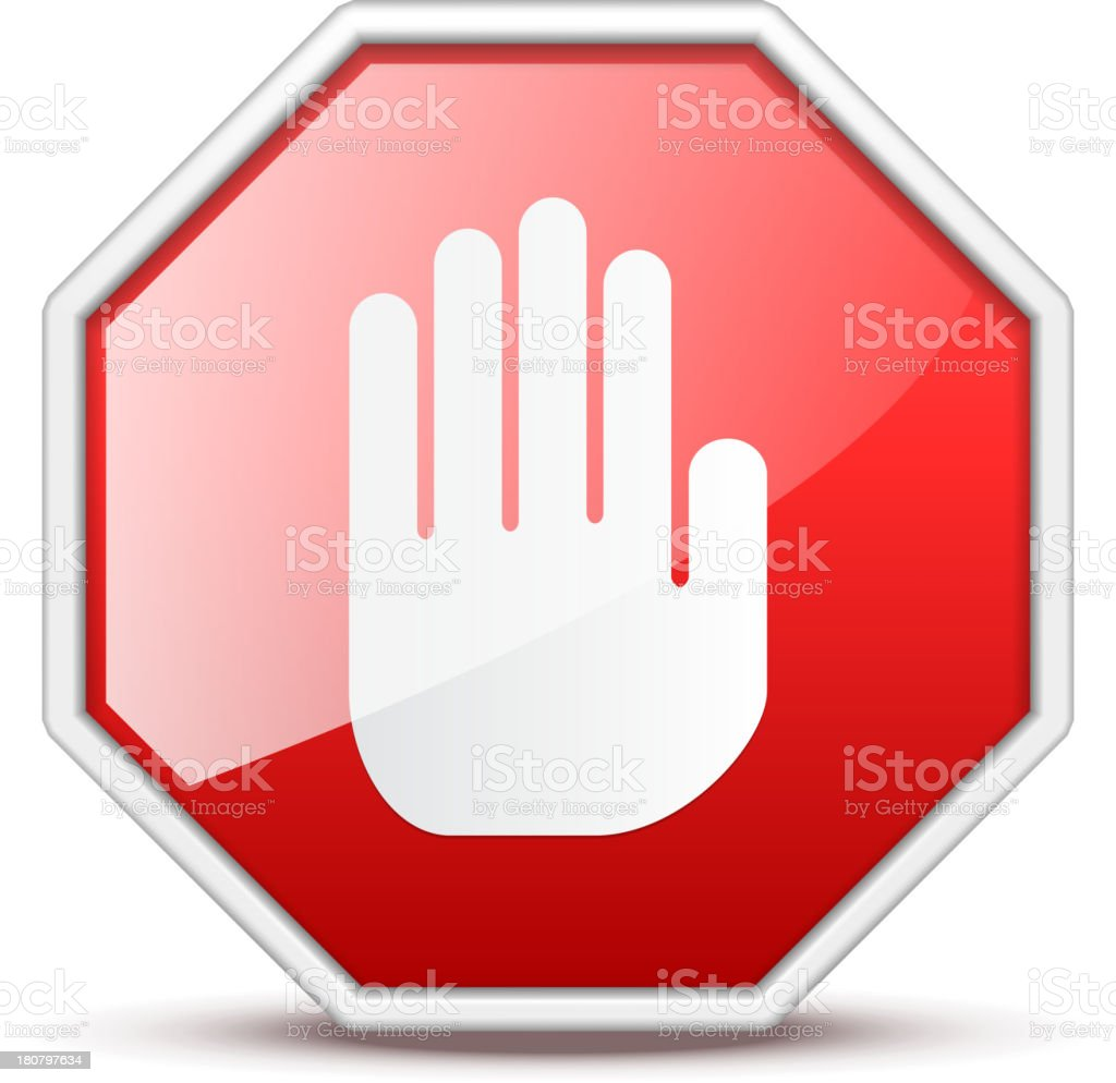 No entry red and white hand sign vector art illustration