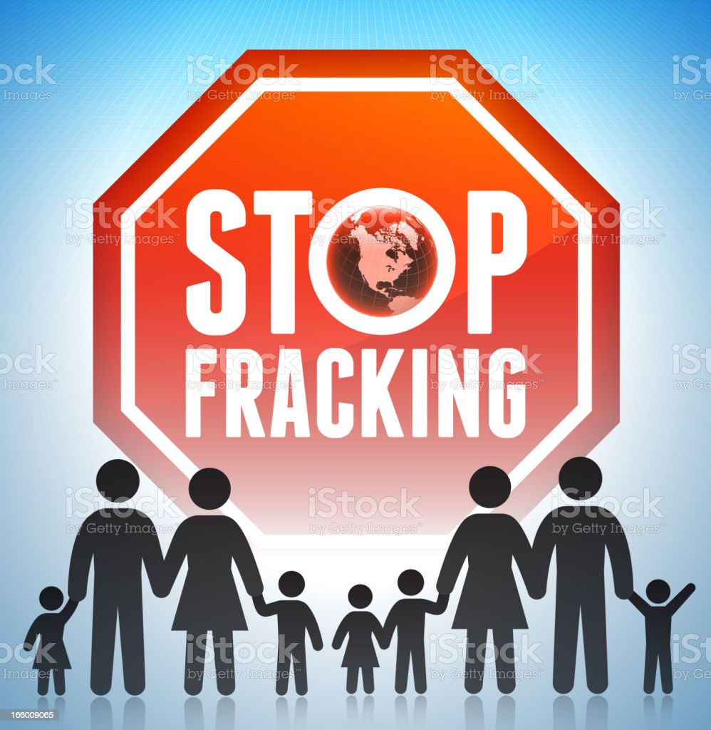 No Fracking Sign Set with Family Concept royalty-free stock vector art