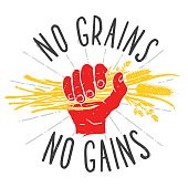 No grains - no gains. Motivation vector illustration