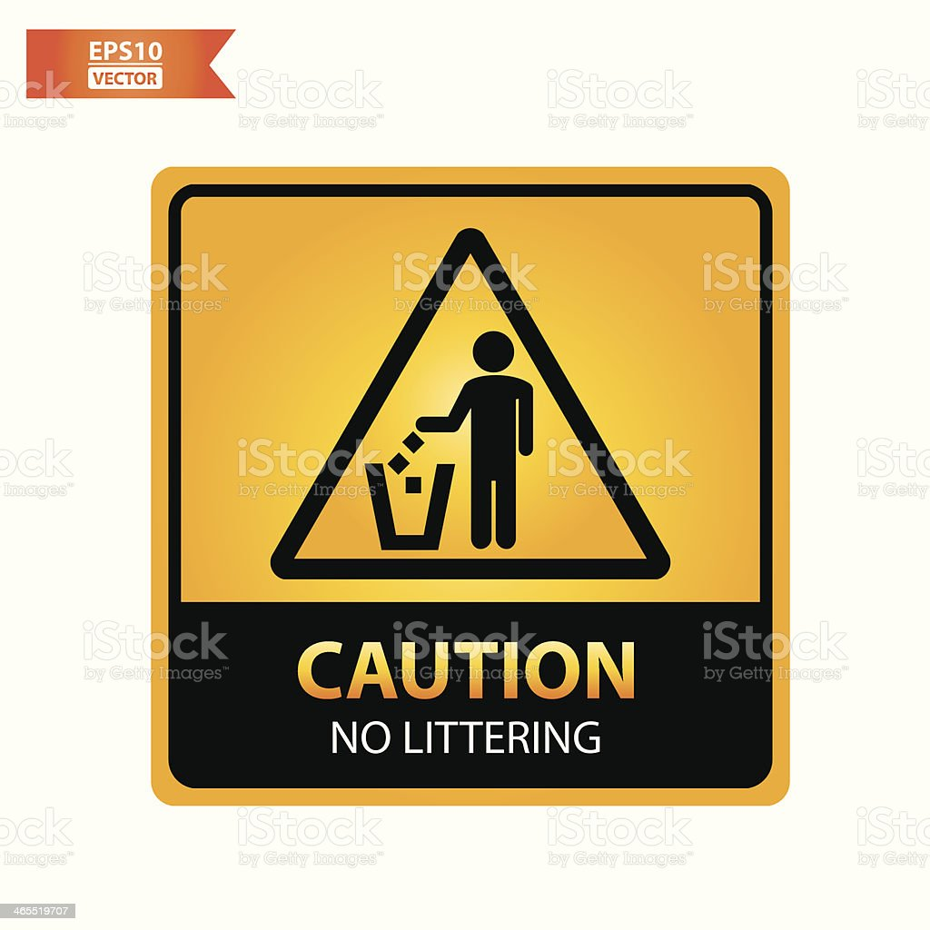No littering text and sign. royalty-free stock vector art