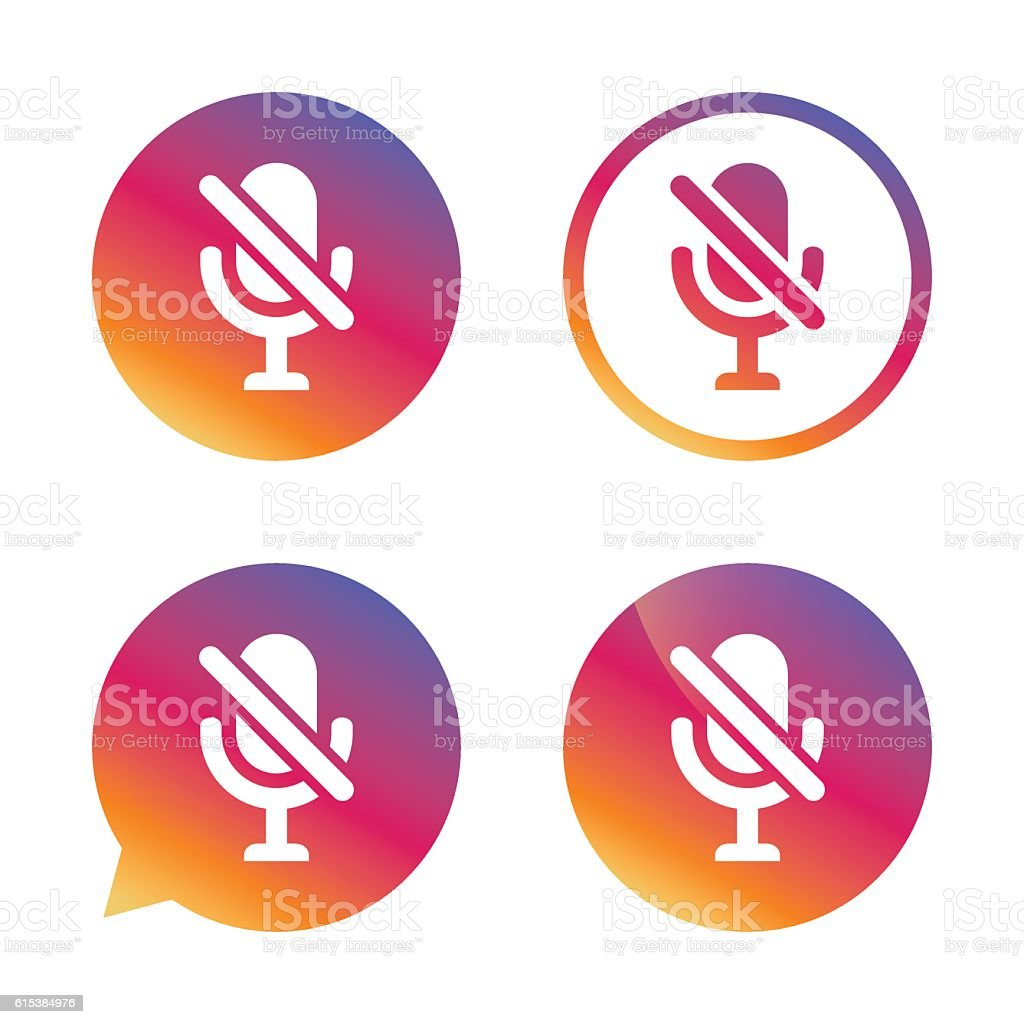 No Microphone sign icon. Speaker symbol. vector art illustration