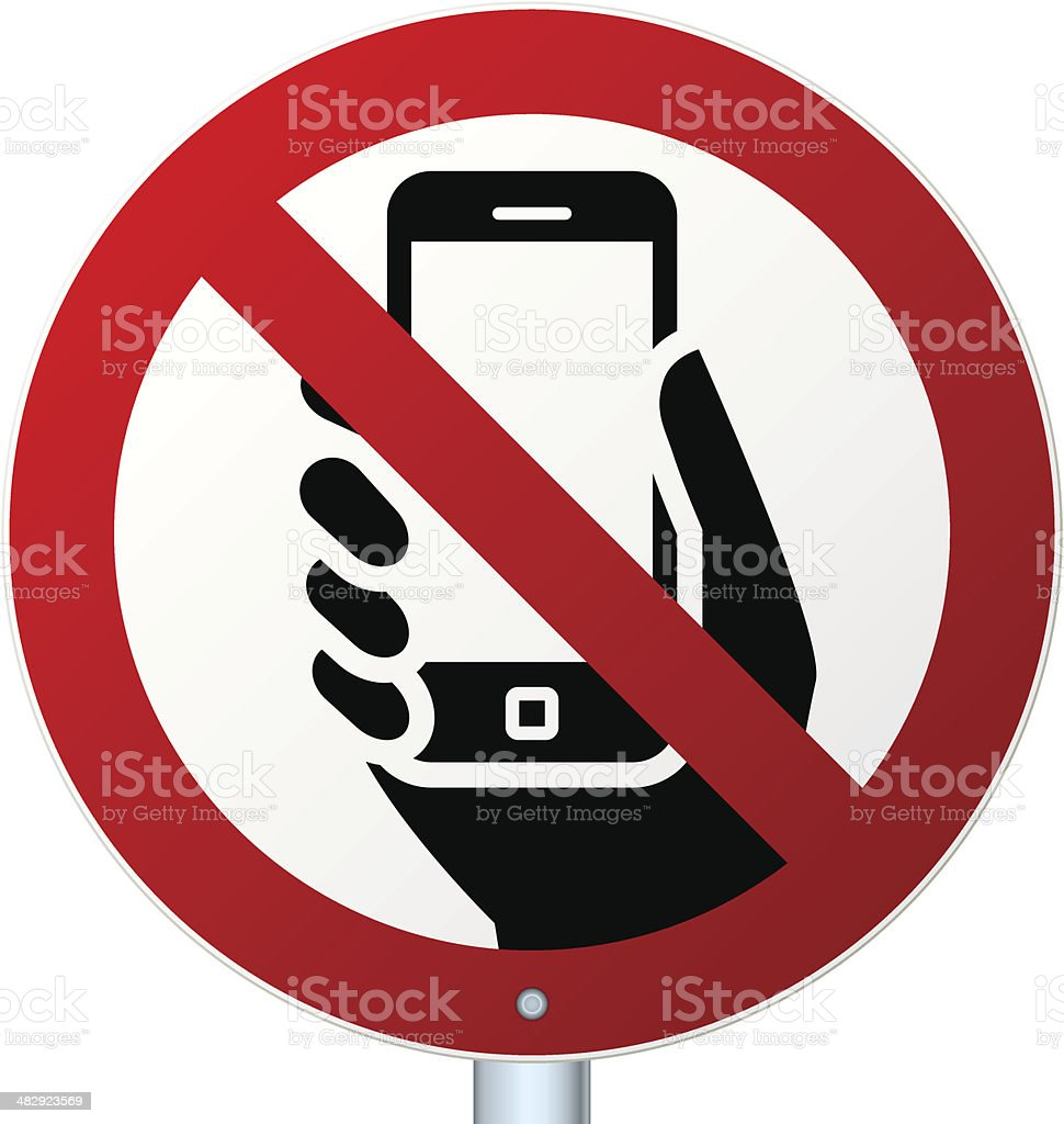 No mobile phones sign over white vector art illustration