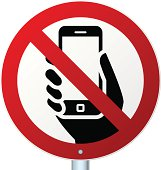 No mobile phones sign over white