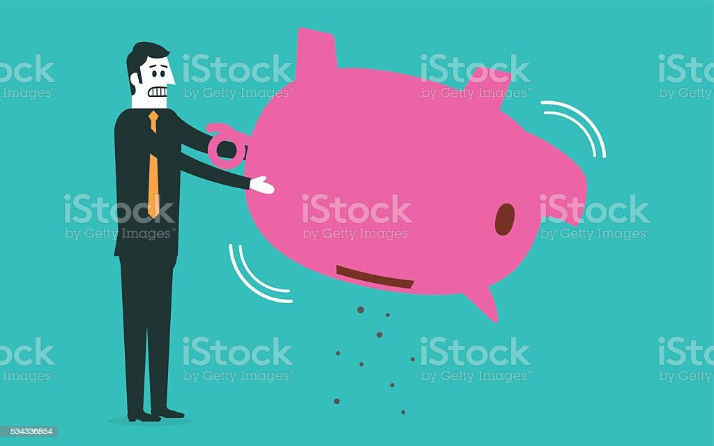 No money in the piggy bank vector art illustration
