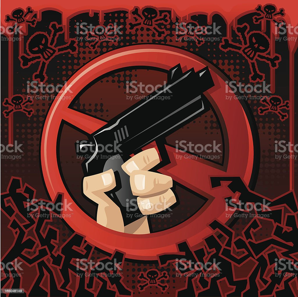 No more Violence! vector art illustration