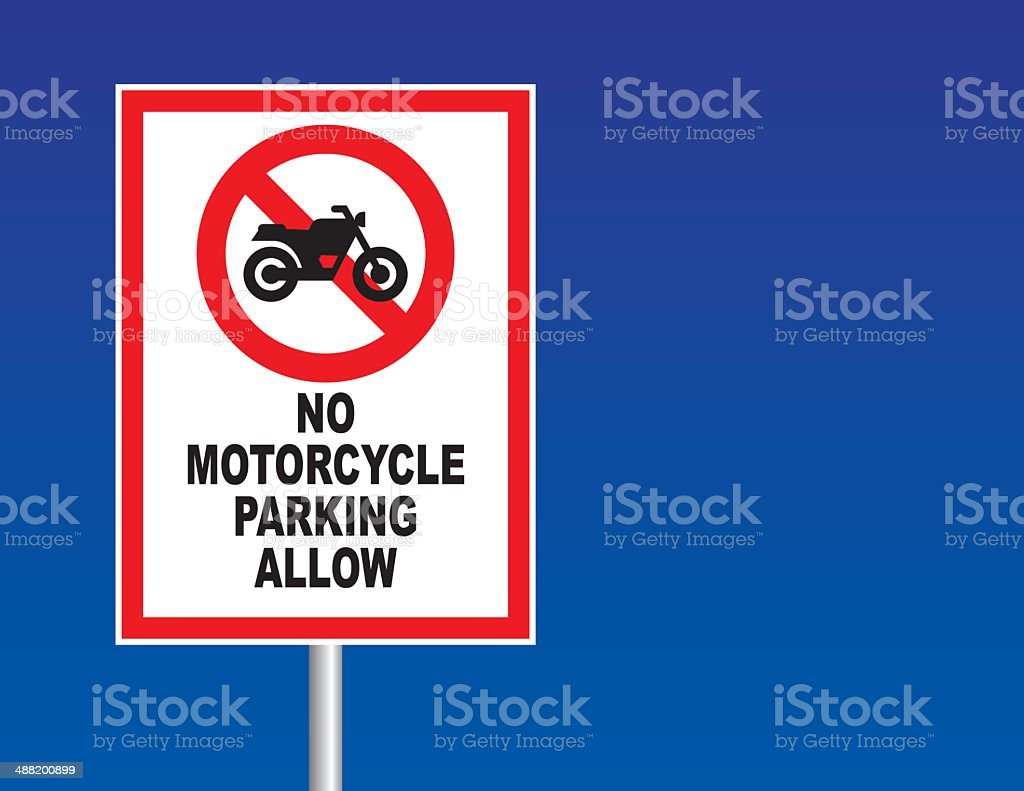 No motorcycle parking sign vector art illustration