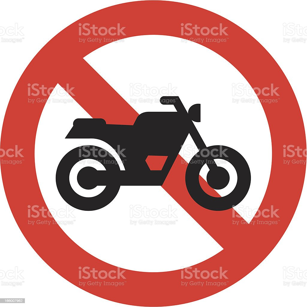 No motorcycle sign vector art illustration