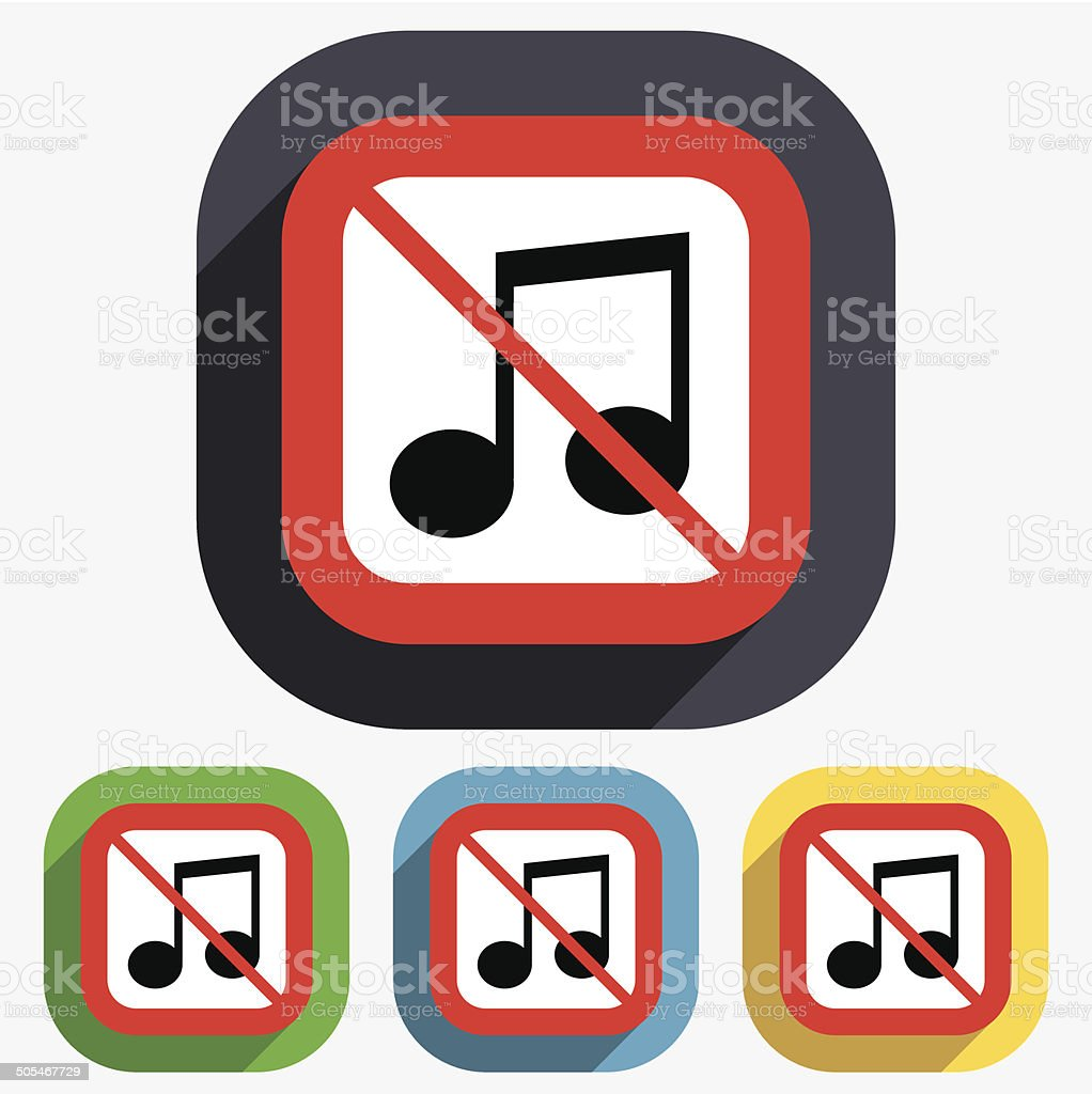 No Music Note Sign Icon Musical Symbol Stock Vector Art 505467729