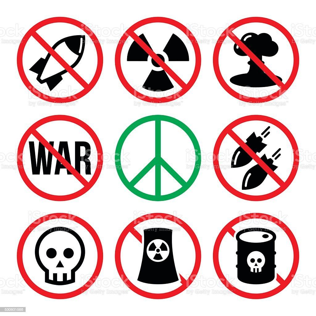No nuclear weapon, no war, no bombs warning signs vector art illustration