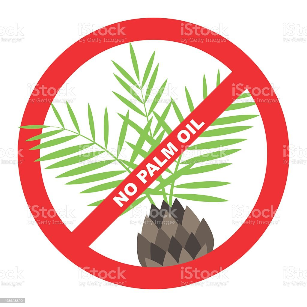 No palm oil label vector art illustration