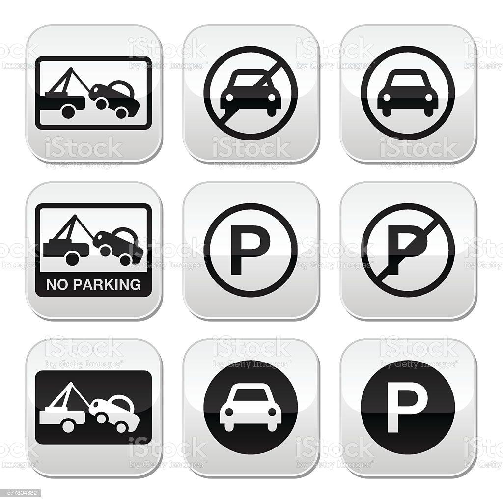 No parking, cars buttons set vector art illustration