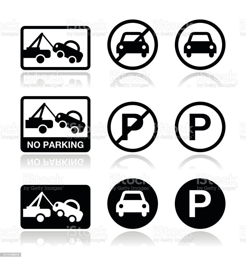 No parking, parking forbidden sign vector art illustration