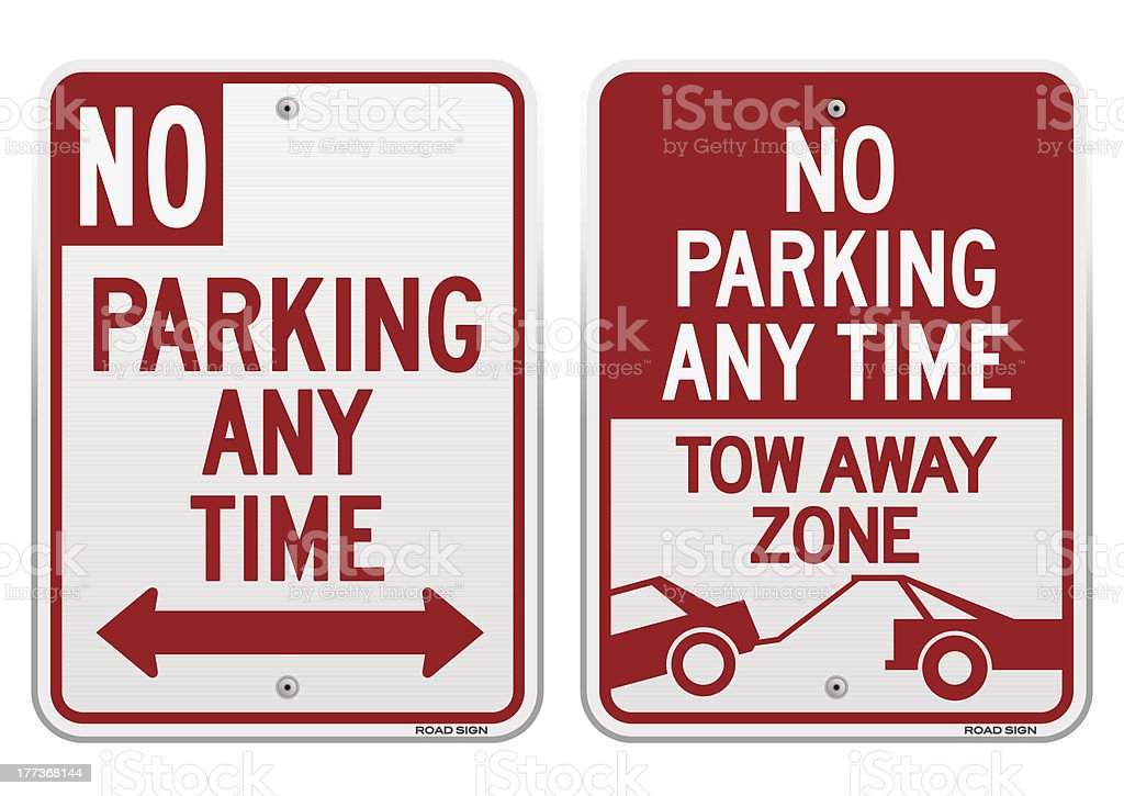 No Parking Sign vector art illustration