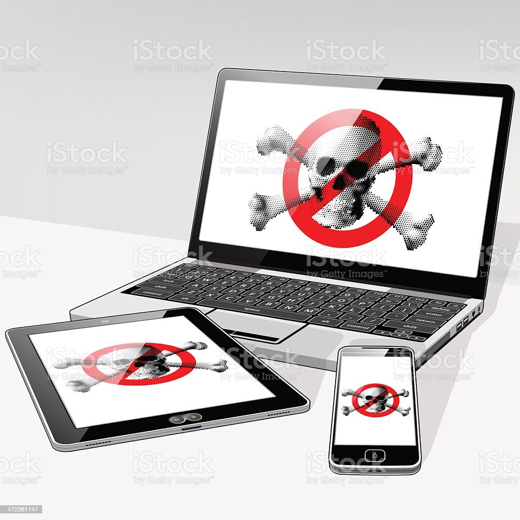 No Pirate content installed on these 3 devices royalty-free stock vector art
