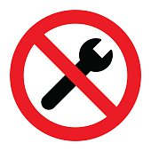 No repair symbol. Prohibition sign