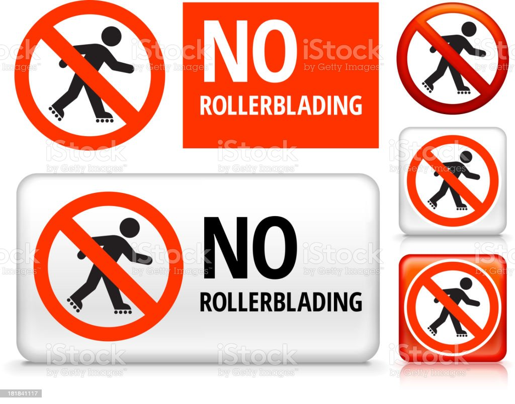 No Rollerblading royalty free vector art Buttons royalty-free stock vector art