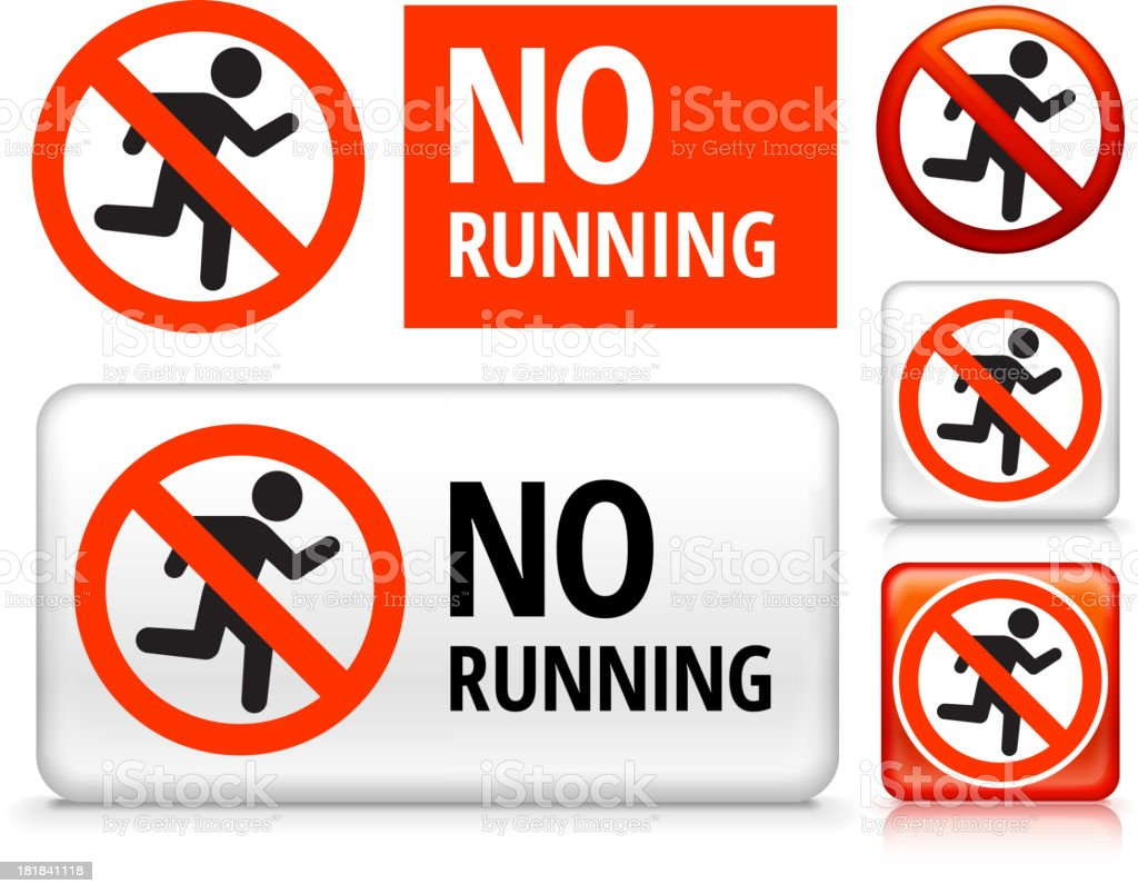 No Running royalty free vector art Buttons royalty-free stock vector art