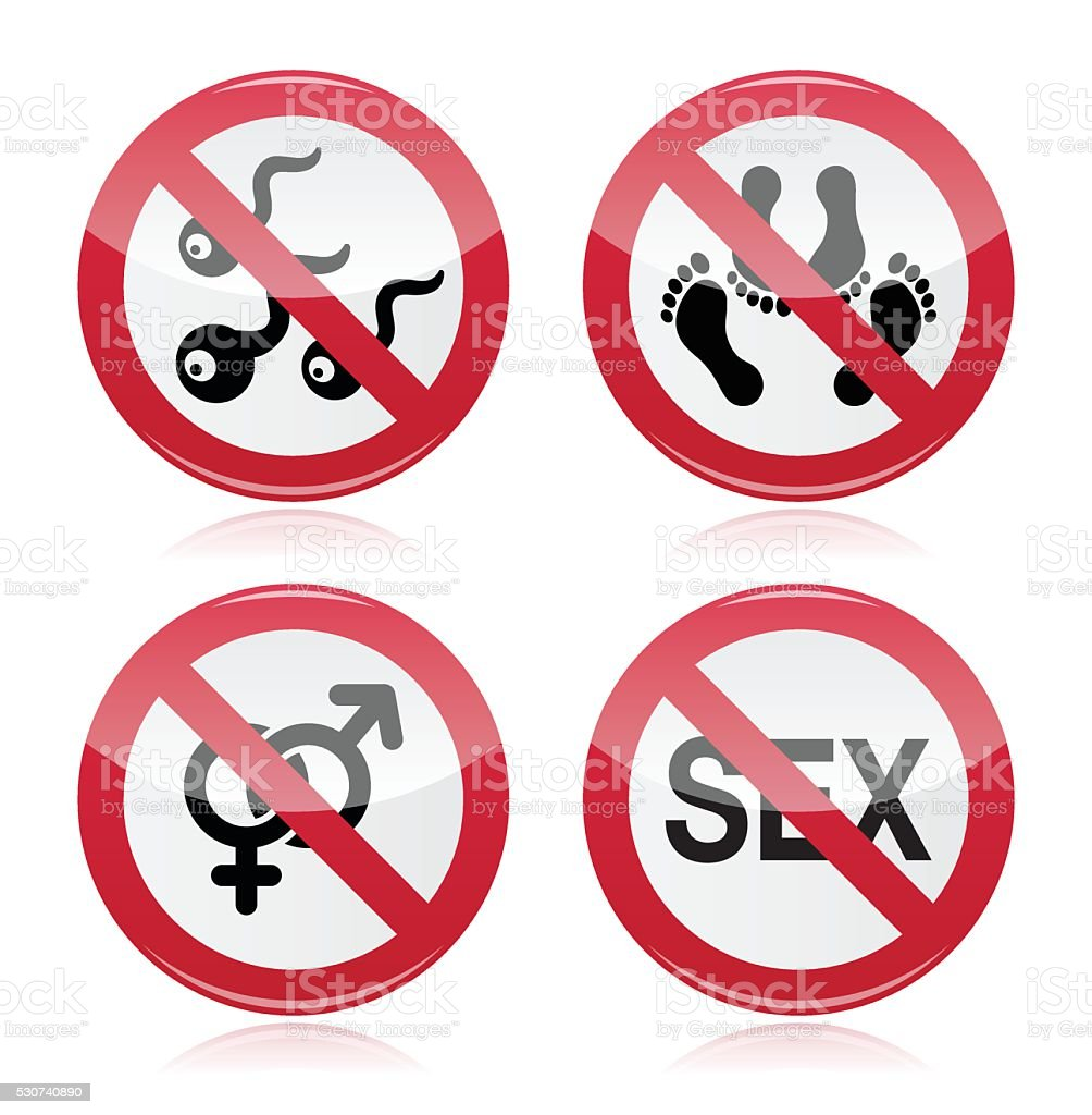 No sex, romance red warning sign vector art illustration