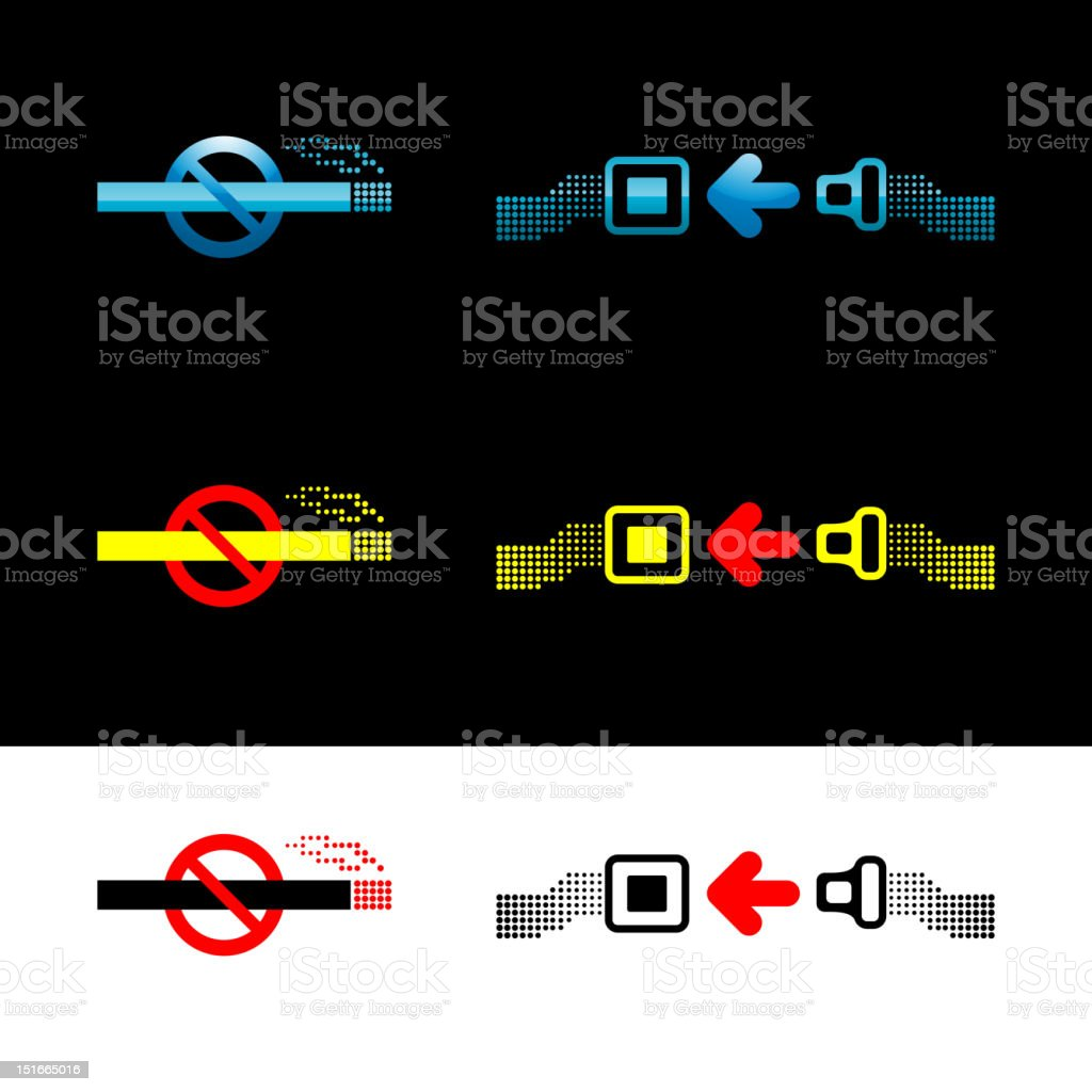 'No smoking' and 'Fasten seat belt' signs vector art illustration