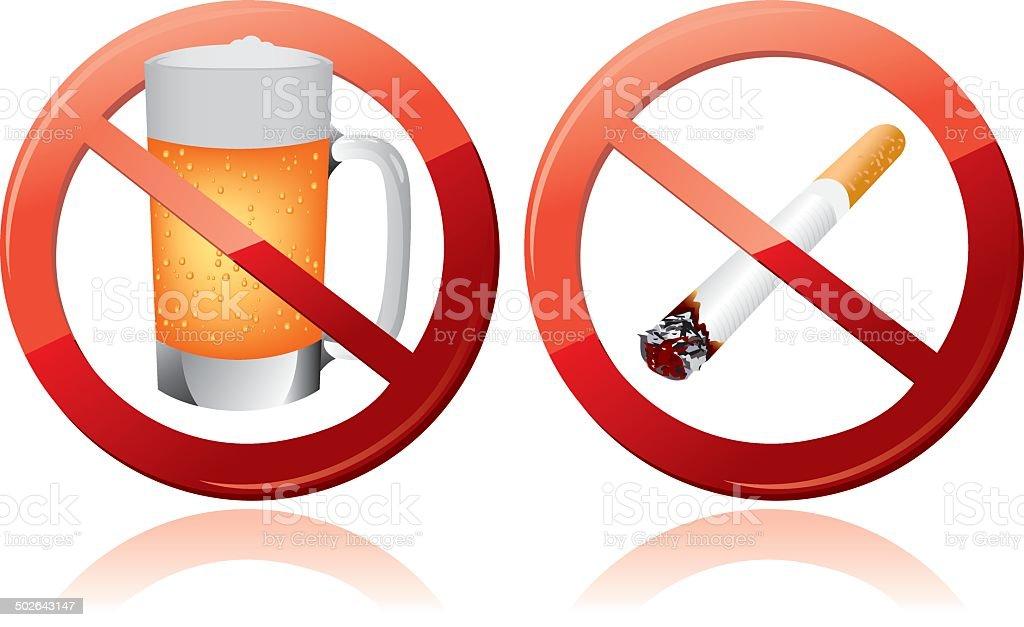 No smoking and No alcohol sign Vector vector art illustration