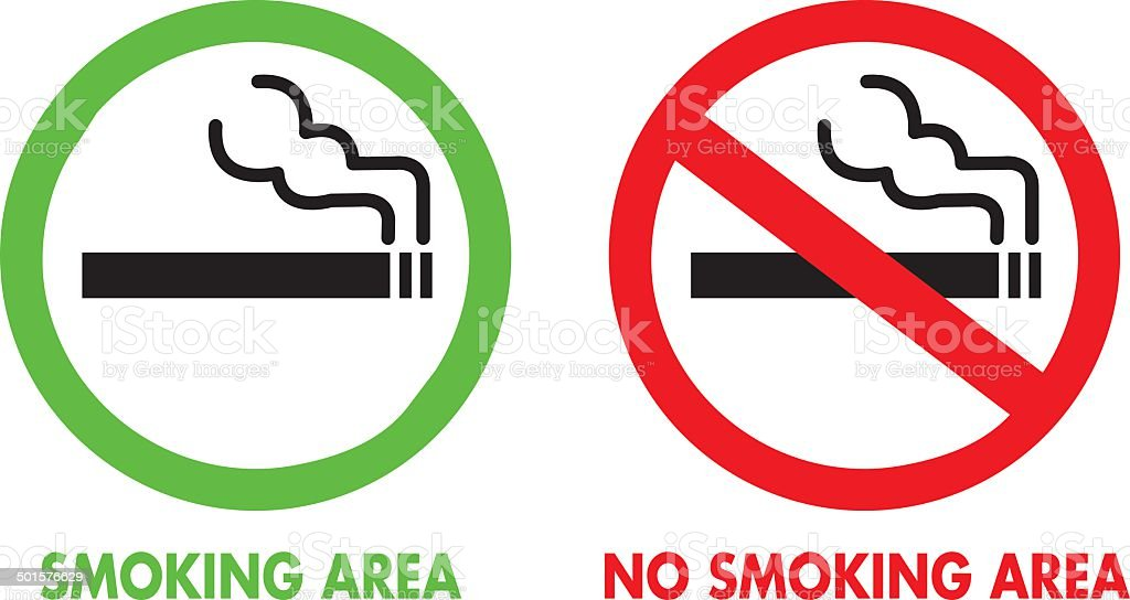 No smoking and Smoking area Vector vector art illustration