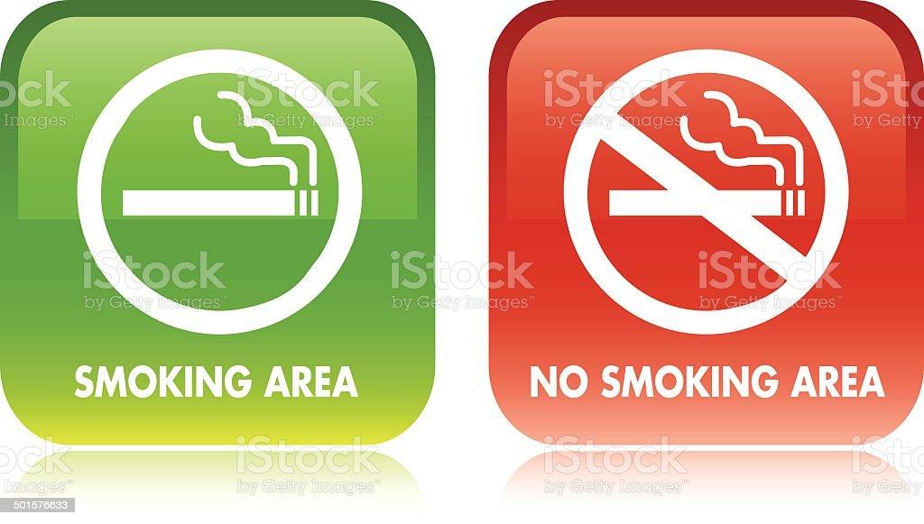 No smoking and Smoking area Vector vector art illustration