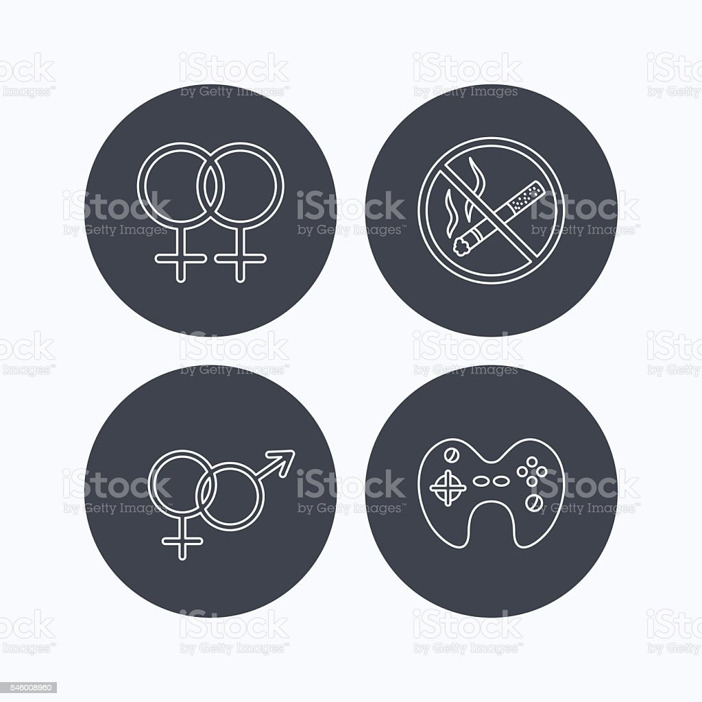 No smoking, couple and game joystick. vector art illustration
