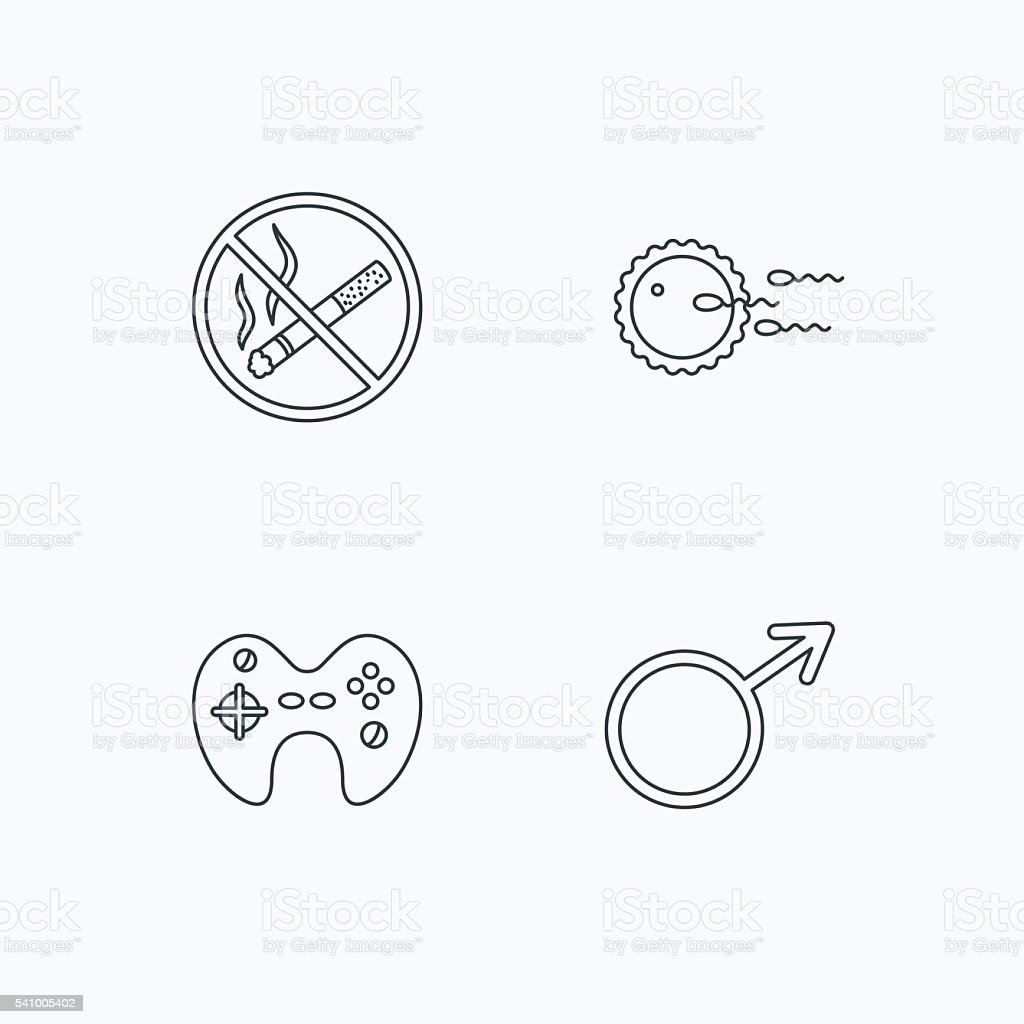 No smoking, family planning and game joystick. vector art illustration