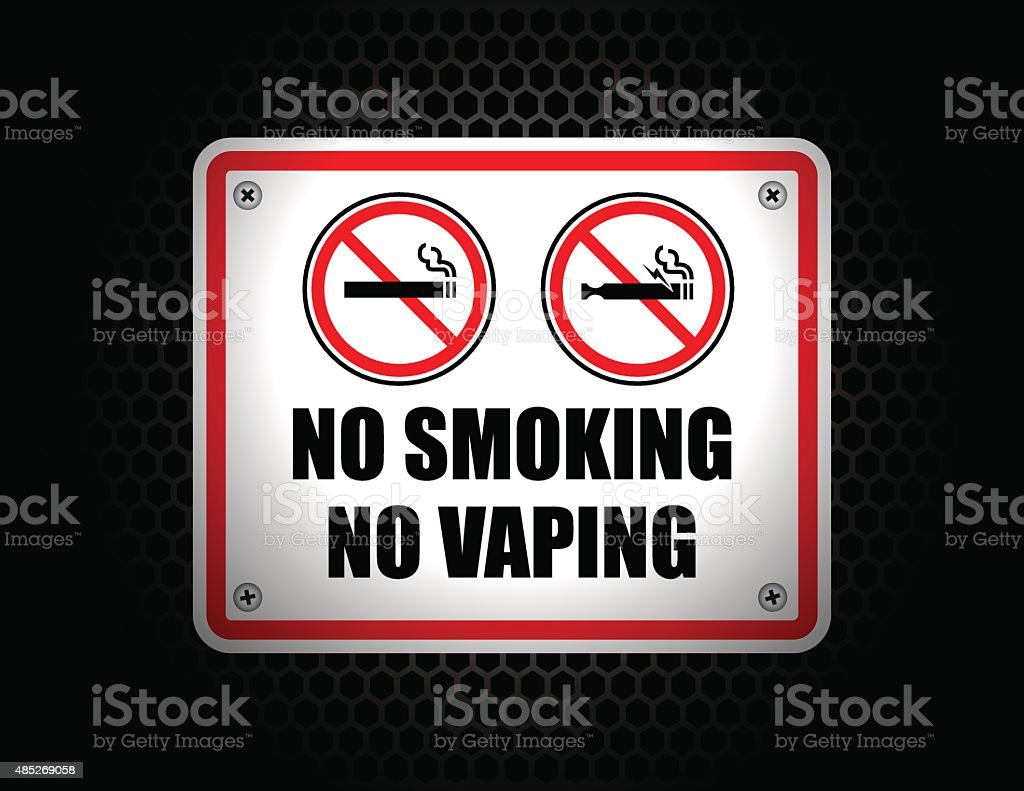 No Smoking No Vaping Sign set vector art illustration