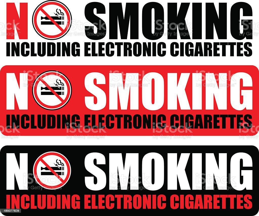 No Smoking Sign set vector art illustration