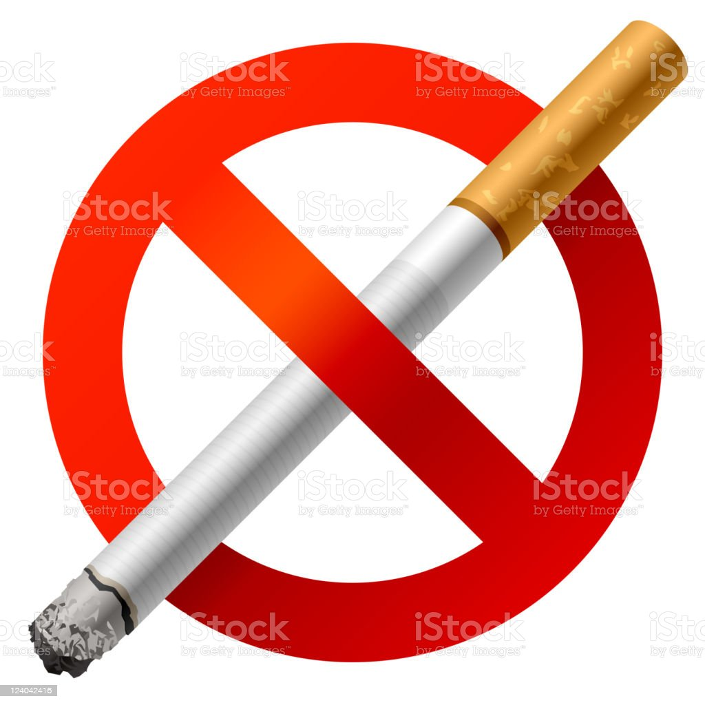 No smoking sign with a large cigarette in the middle vector art illustration