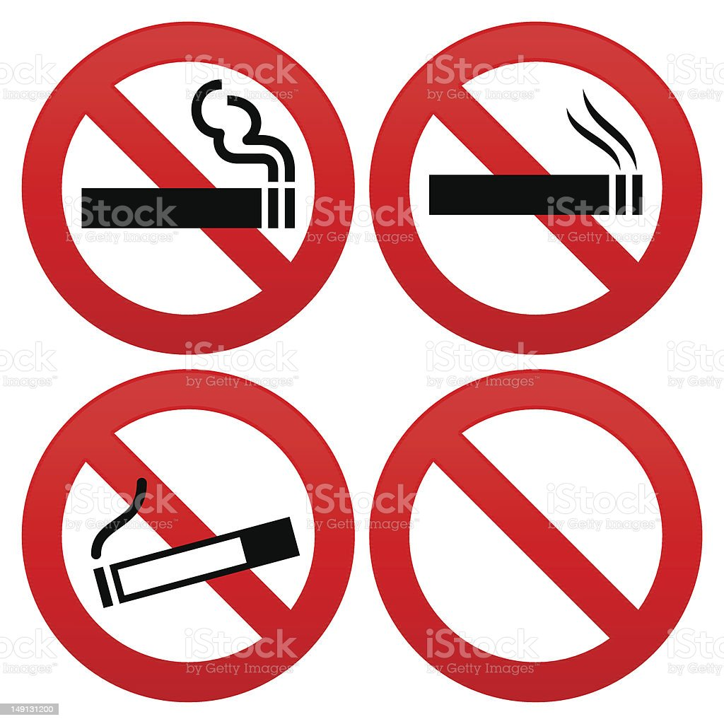No smoking signs in a square shape royalty-free stock vector art