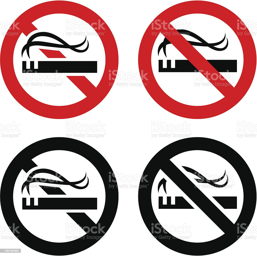 No smoking signs set royalty-free stock vector art