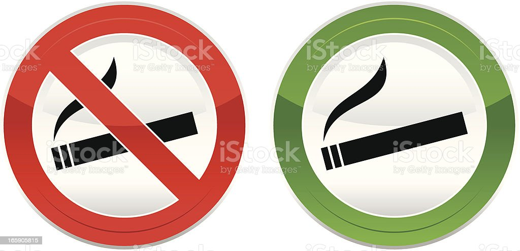 'No smoking', 'Smoking is permitted' vector art illustration