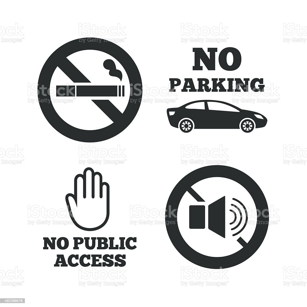No Smoking, Sound. Private territory parking vector art illustration