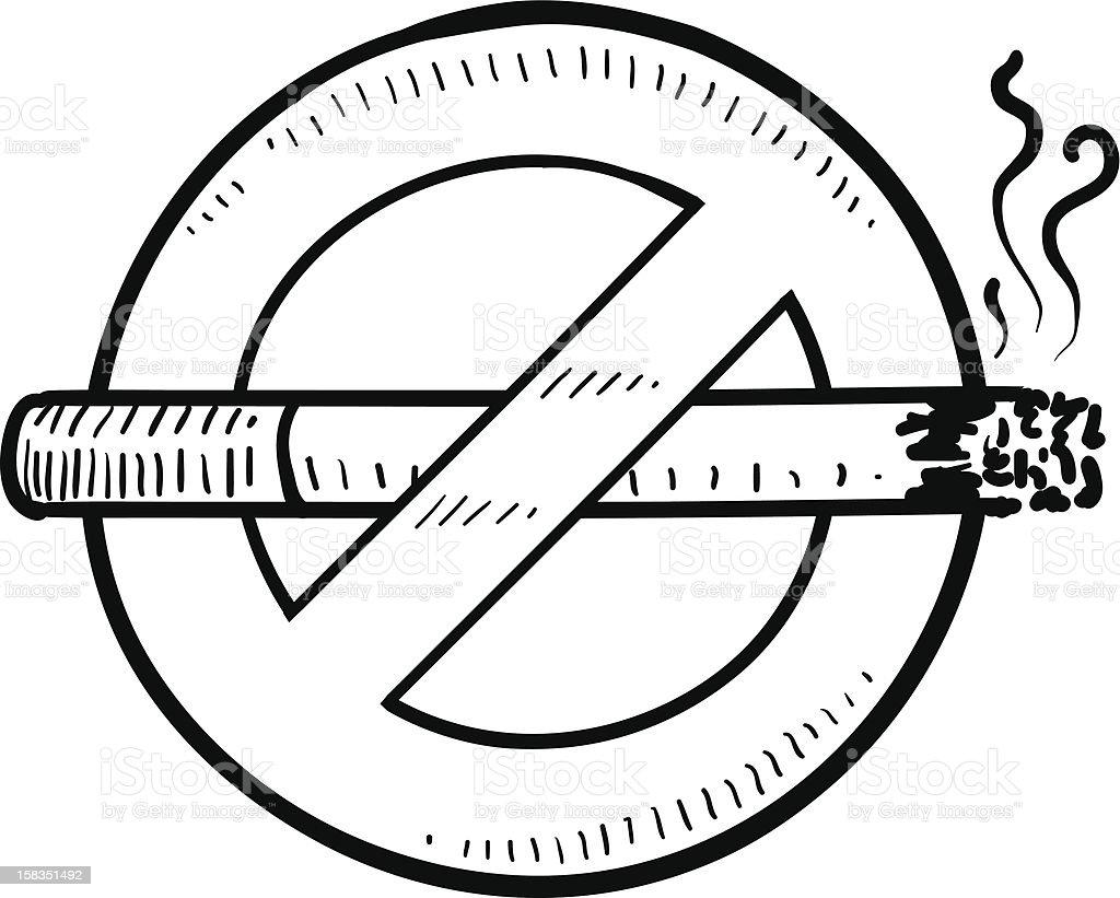 No smoking symbol vector sketch vector art illustration