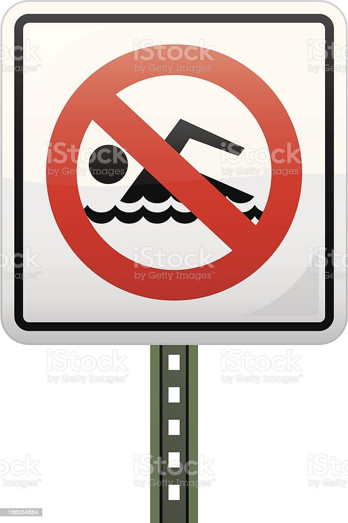 No Swimming Sign royalty-free stock vector art