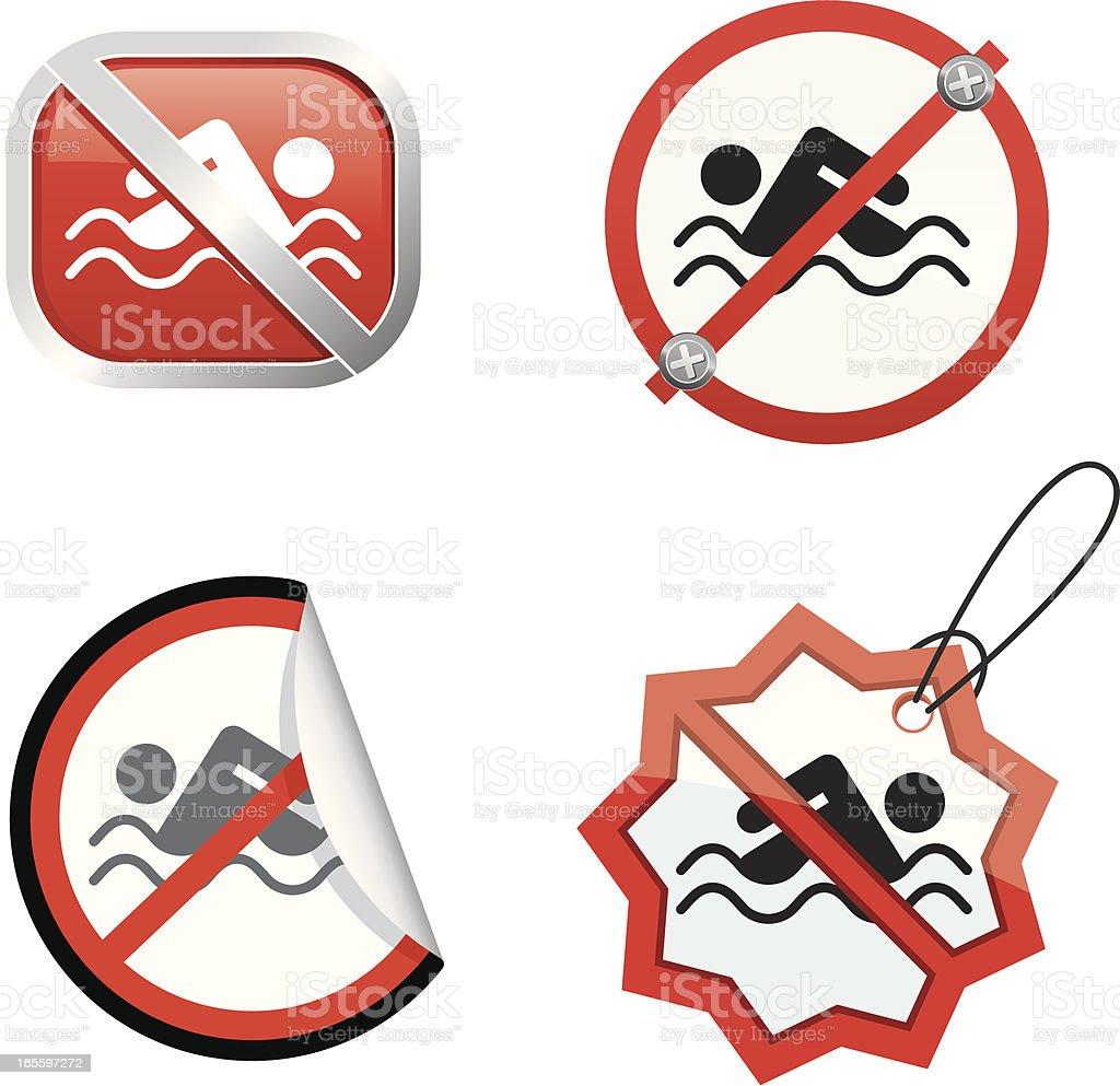 No swimming royalty-free stock vector art