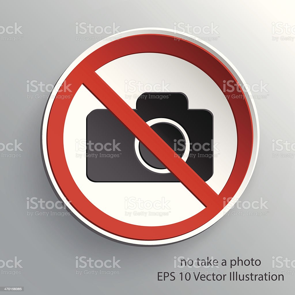 no take a photo sign 3d paper design royalty-free stock vector art
