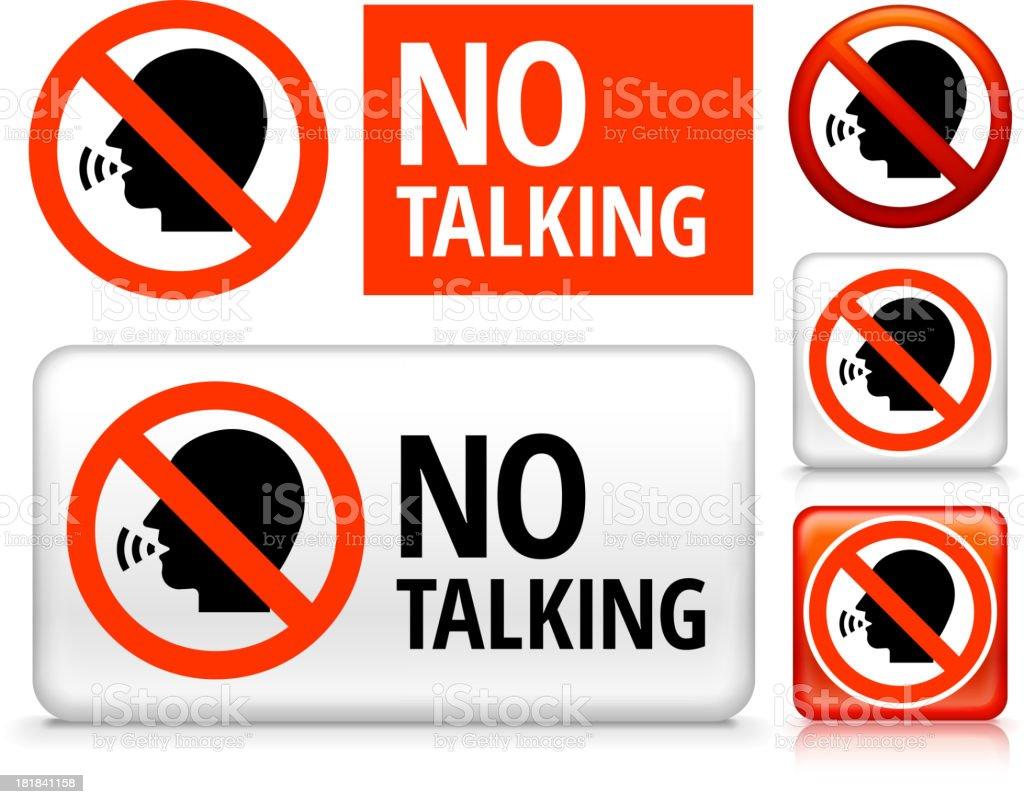 No Talking royalty free vector art Buttons vector art illustration