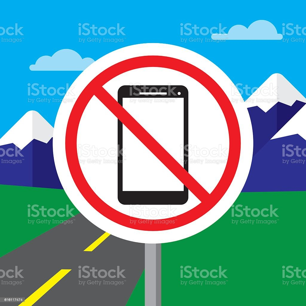 No Texting While Driving Sign vector art illustration