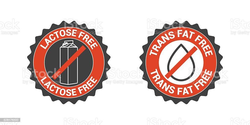 No trans fat, no lactose vector icon set. Label, badge, seal, sign...