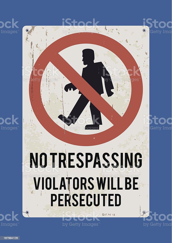 No tresspasing sign: Frankenstein's Monster vector art illustration