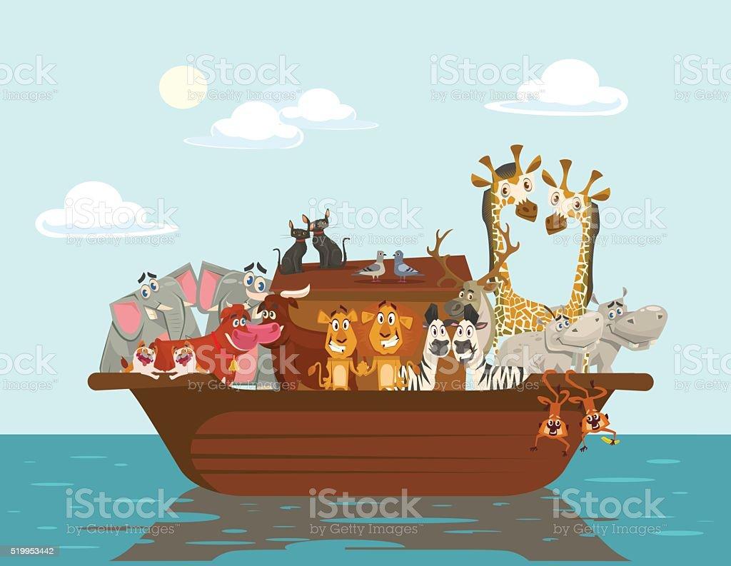 Noah ark. Vector flat cartoon illustration vector art illustration