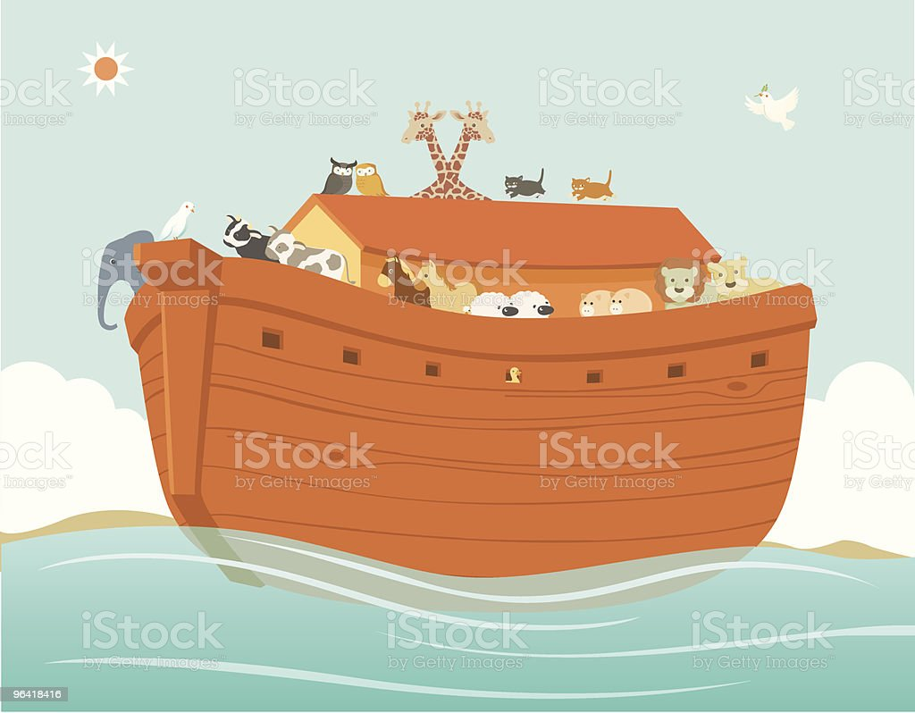 Noah's Ark with Various Pairs of Animals vector art illustration