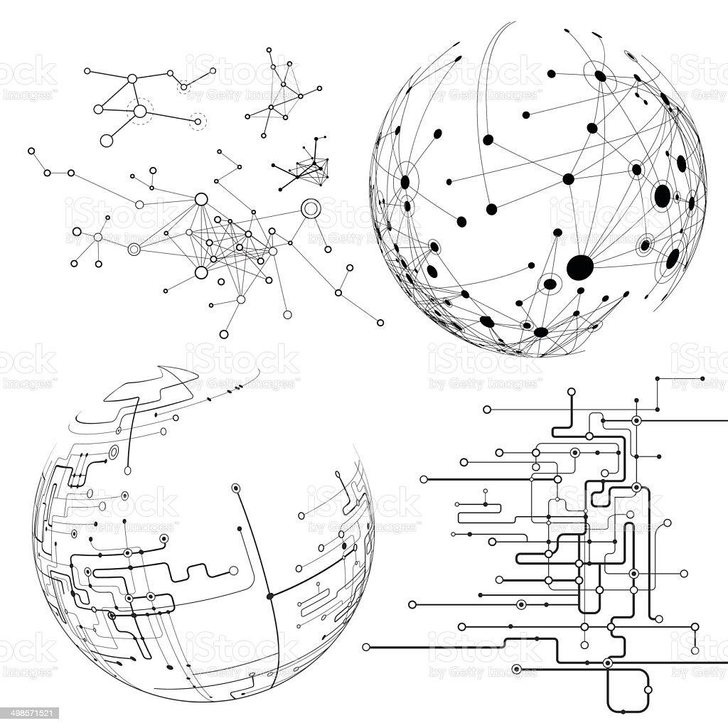 Nodes - design elements vector art illustration