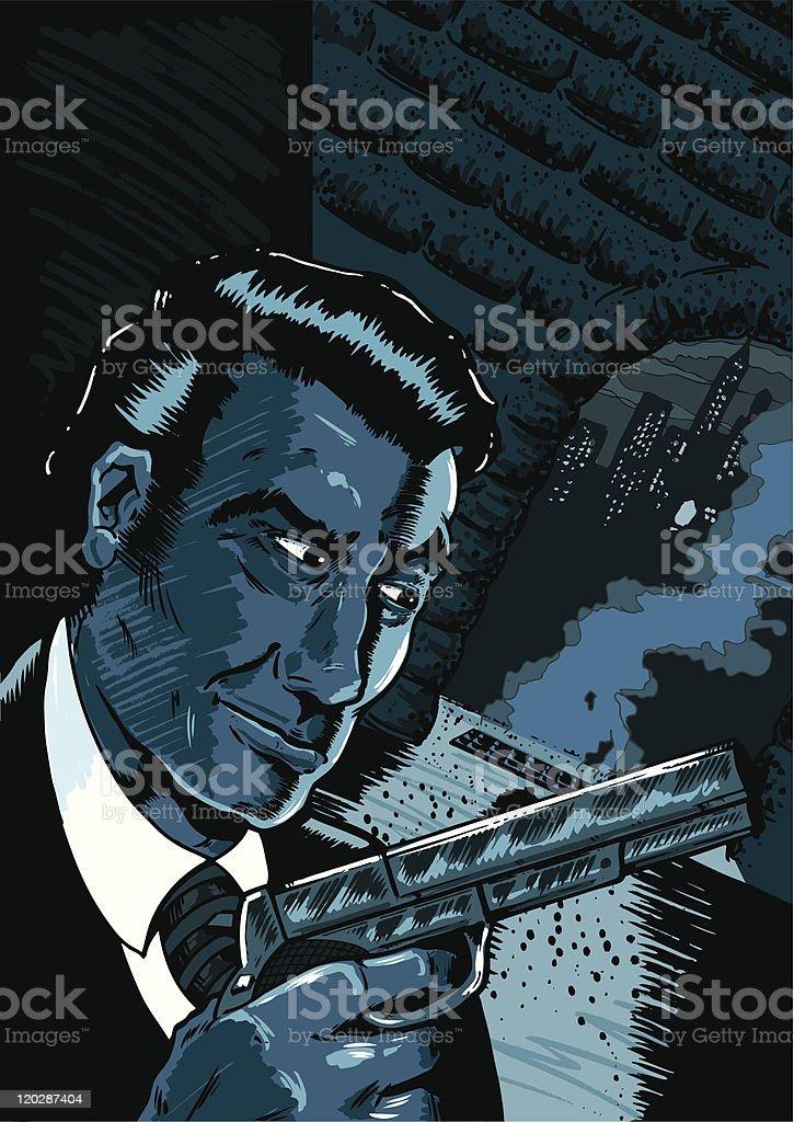 Noir spy scene in a comic book style royalty-free stock vector art