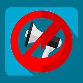 Noise Prohibited Megaphone Bullhorn Restrictive Sign Flat Material Design