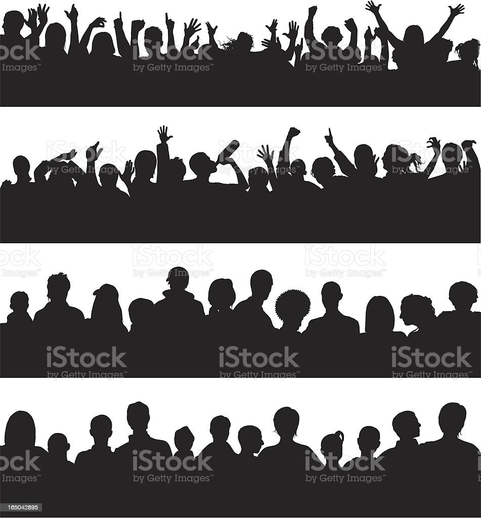 Noisy and Quiet Crowds of People vector art illustration